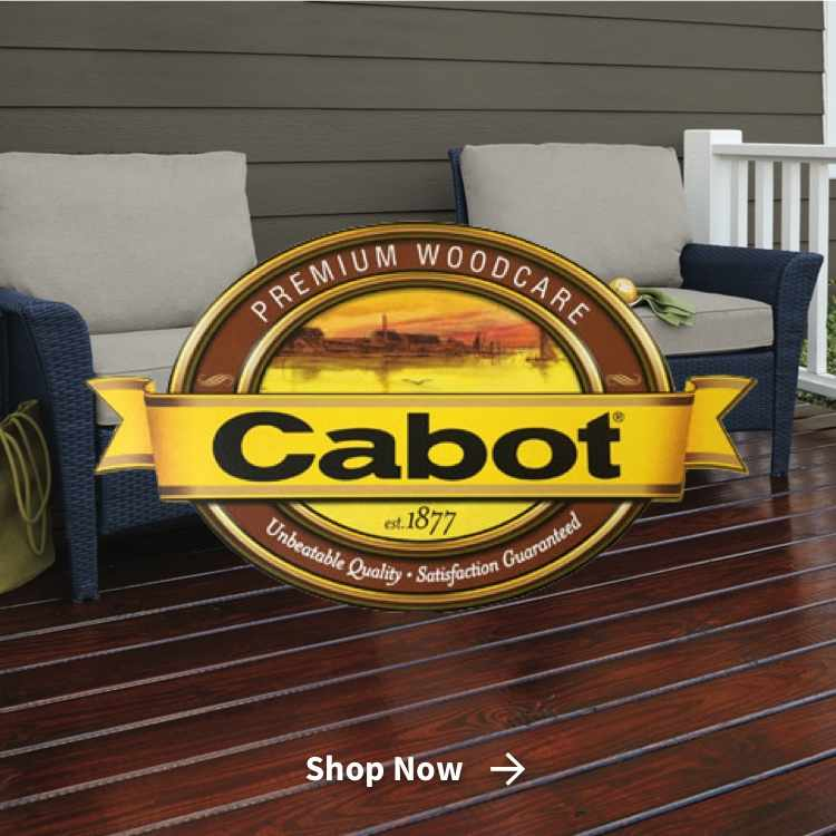 Cabot premium woodcare wood stain on deck with logo