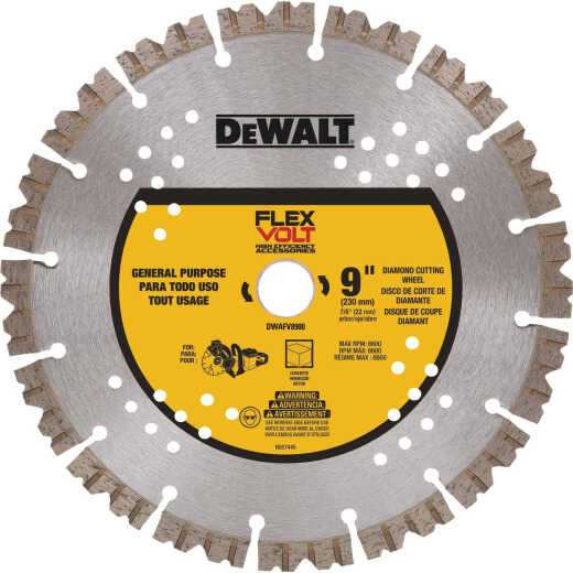 DeWalt Flexvolt 9 In. Segmented Diamond Concrete Cut-Off Wheel