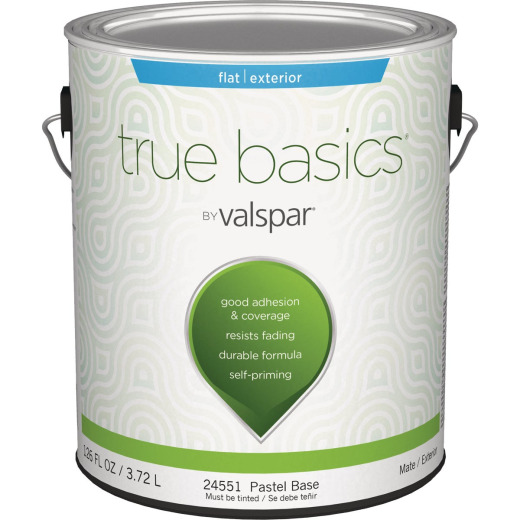 True Basics by Valspar Flat Exterior House Paint, 1 Gal., Pastel Base