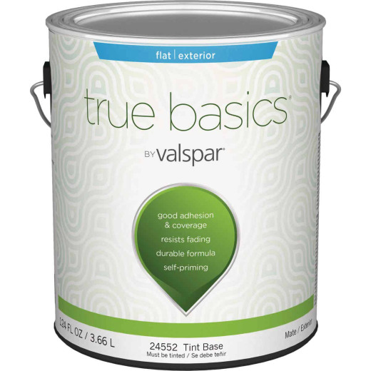 True Basics by Valspar Flat Exterior House Paint, 1 Gal., Tint Base