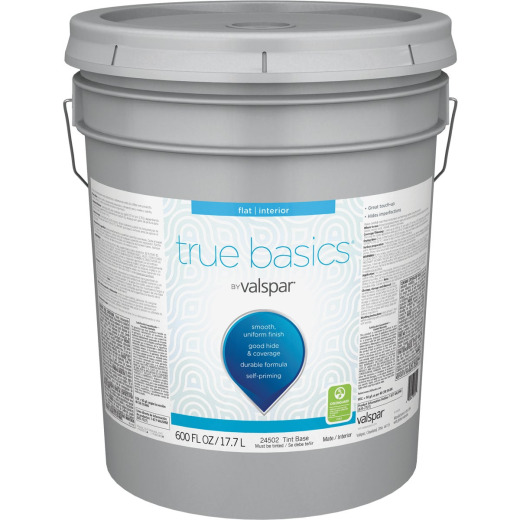 True Basics by Valspar Flat Interior Paint, 5 Gal., Tint Base