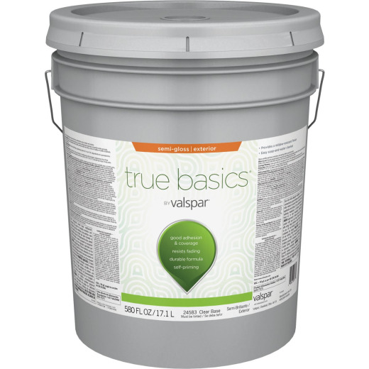 True Basics by Valspar Semi-Gloss Exterior Paint, 5 Gal., Clear Base