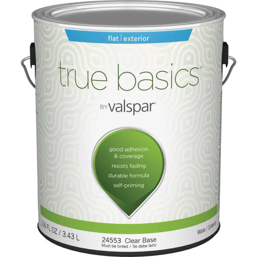 True Basics by Valspar Flat Exterior House Paint, 1 Gal., Clear Base