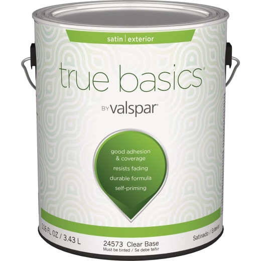True Basics by Valspar Satin Exterior House Paint, 1 Gal., Clear Base