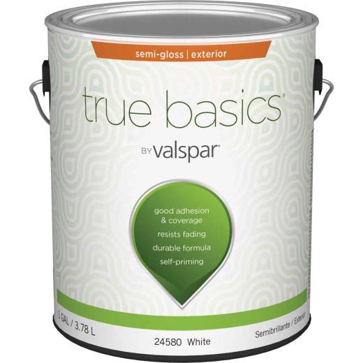 True Basics by Valspar Semi-Gloss Exterior House Paint, 1 Gal., White