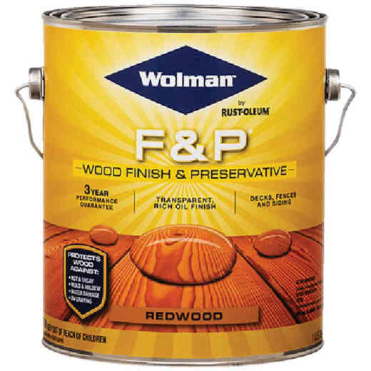 Wolman F&P Transparent Wood Finish And Preservative, Redwood, 1 Gal.
