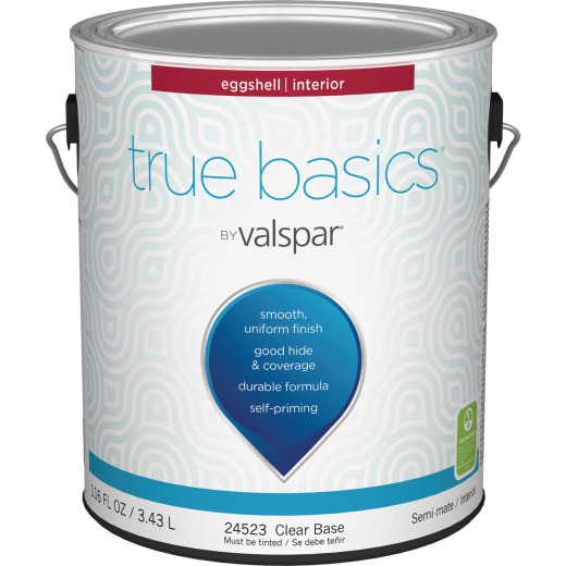 True Basics by Valspar Eggshell Interior Wall Paint, 1 Gal., Clear Base