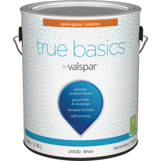 True Basics by Valspar Semi-Gloss Interior Wall Paint, 1 Gal., White