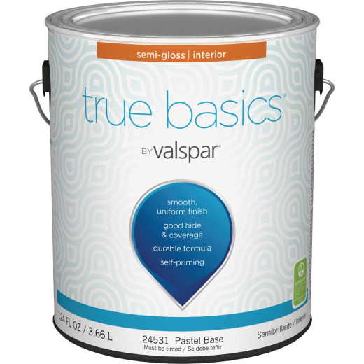 True Basics by Valspar Semi-Gloss Interior Wall Paint, 1 Gal., Pastel Base