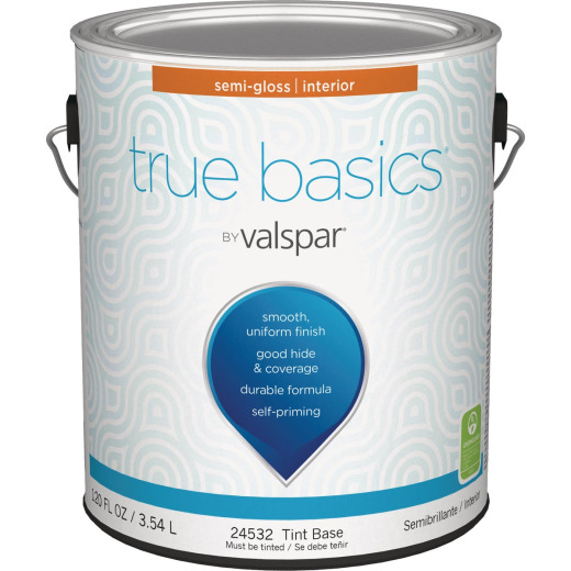 True Basics by Valspar Semi-Gloss Interior Wall Paint, 1 Gal., Tint Base